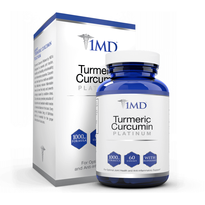 Image of a bottle of 1MD Turmeric Curcumin