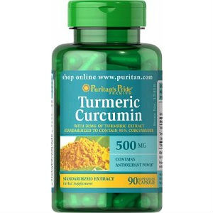 Image of a bottle of Puritan's Pride Turmeric Curcumin 500mg