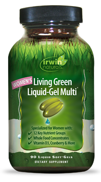 Image of a bottle of Irwin Naturals Women's Living Green Liquid-Gel Multi