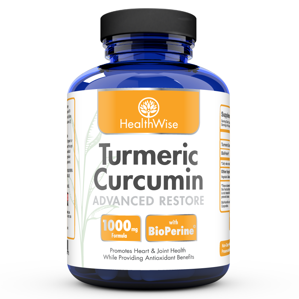 Image of a bottle of HealthWise Turmeric Curcumin