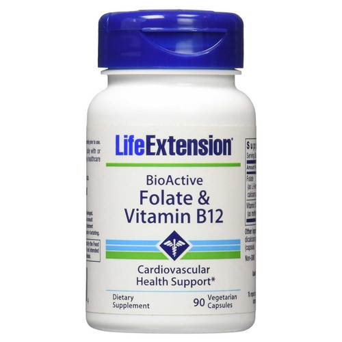 Photo of a bottle of LifeExtension Folate and Vitamin B12