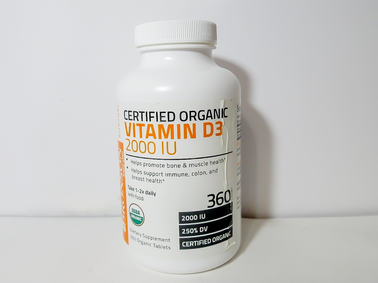Image of a bottle of Certified Organic Vitamin D3 2000 IU