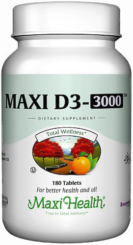 Image of a bottle of Maxi Health Maxi D3 3000 Vitamin D Supplement