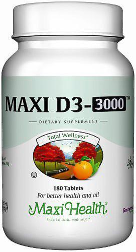 Image of a bottle of Maxi Health Maxi D3 3000 Vitamin D Supplement
