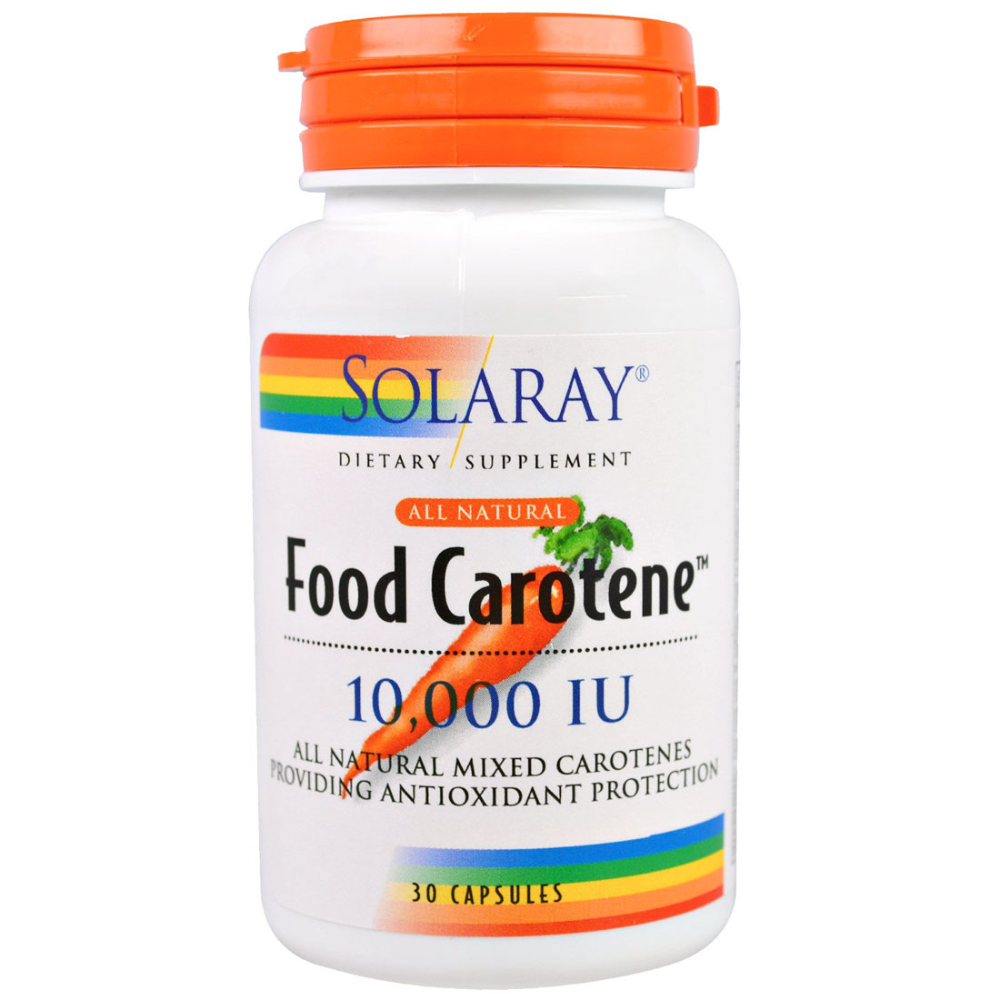 Image of a Bottle of Solaray Food Carotene All Natural 10,000 IU Softgels (Vitamin A)
