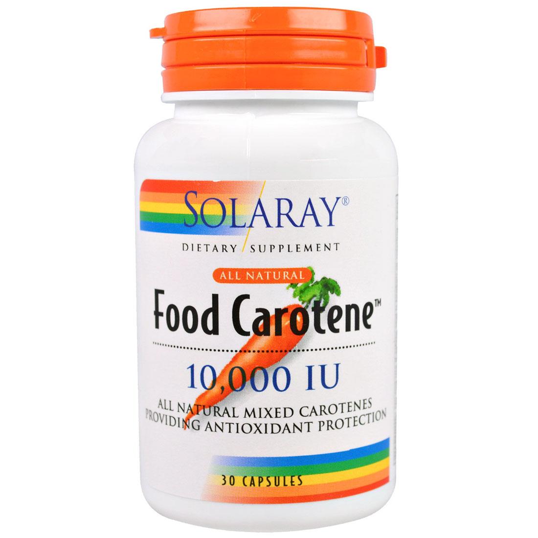 Image of a Bottle of Solaray Food Carotene All Natural 10,000 IU Softgels (Vitamin A)