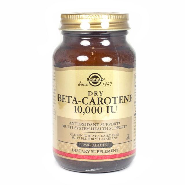 Image of a bottle of Solgar Dry Beta-Carotene (Vitamin A) 10,000 IU