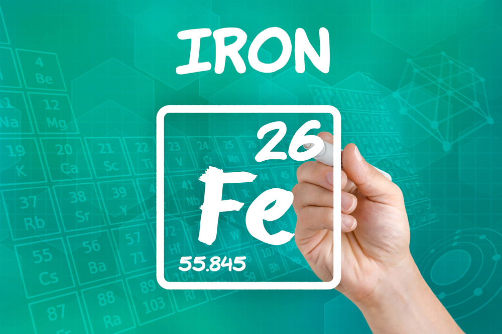 Image of a hand drawing the iron periodic table