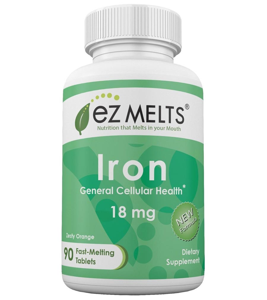 Image of a bottle of EZ Melts Iron, the best iron supplement for vegans and vegetarians