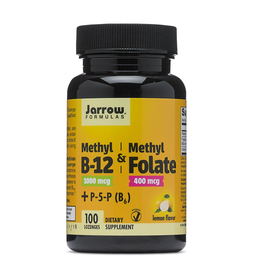 Image of a bottle of Jarrow Formulas Methyl B12 Methyl Folate, one of the best folate supplements