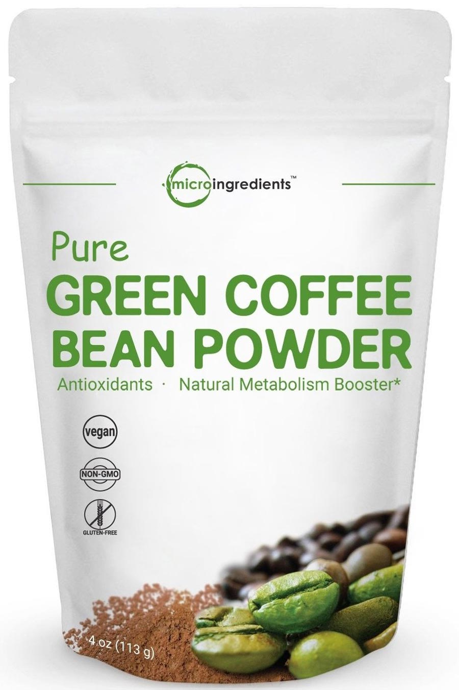 Image of a package of Micro Ingredients Pure Green Coffee Bean Powder