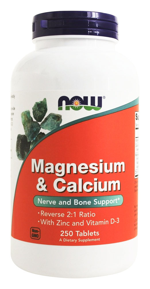 Image of a bottle of the best calcium supplement for osteoporosis/osteopenia, NOW Magnesium & Calcium