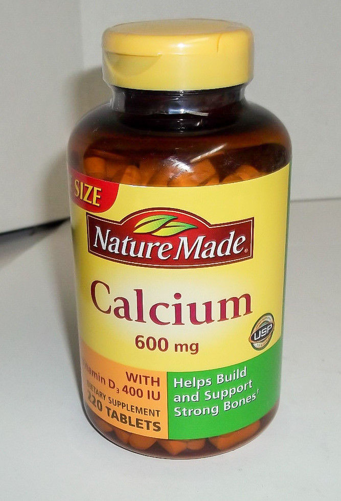 Image of a bottle of NatureMade 600 mg Calcium, the best calcium supplement for pregnancy