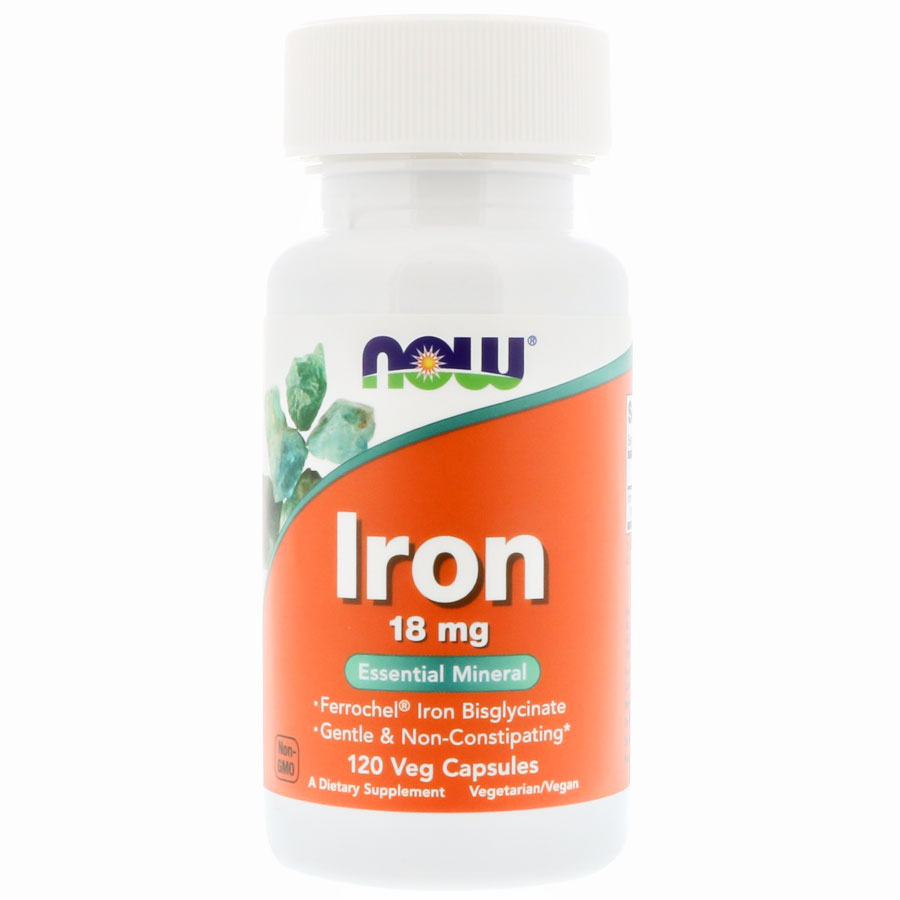 Image of a bottle of the best iron supplement for women, Now Iron 18 mg