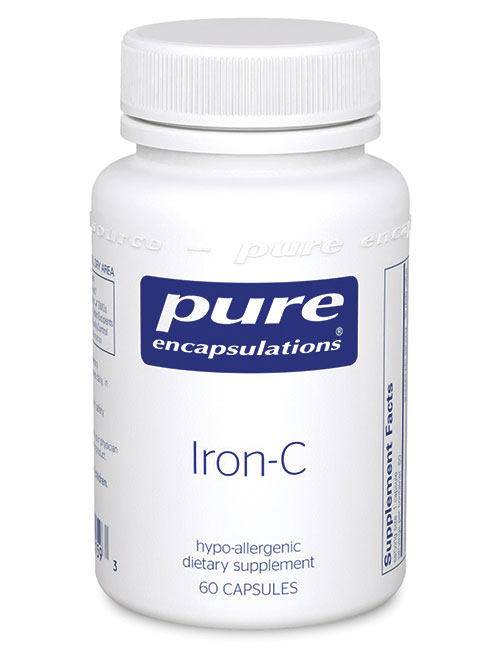 Image of a bottle of the best iron supplement for runners/athletes, Pure Encapsulations Iron-C