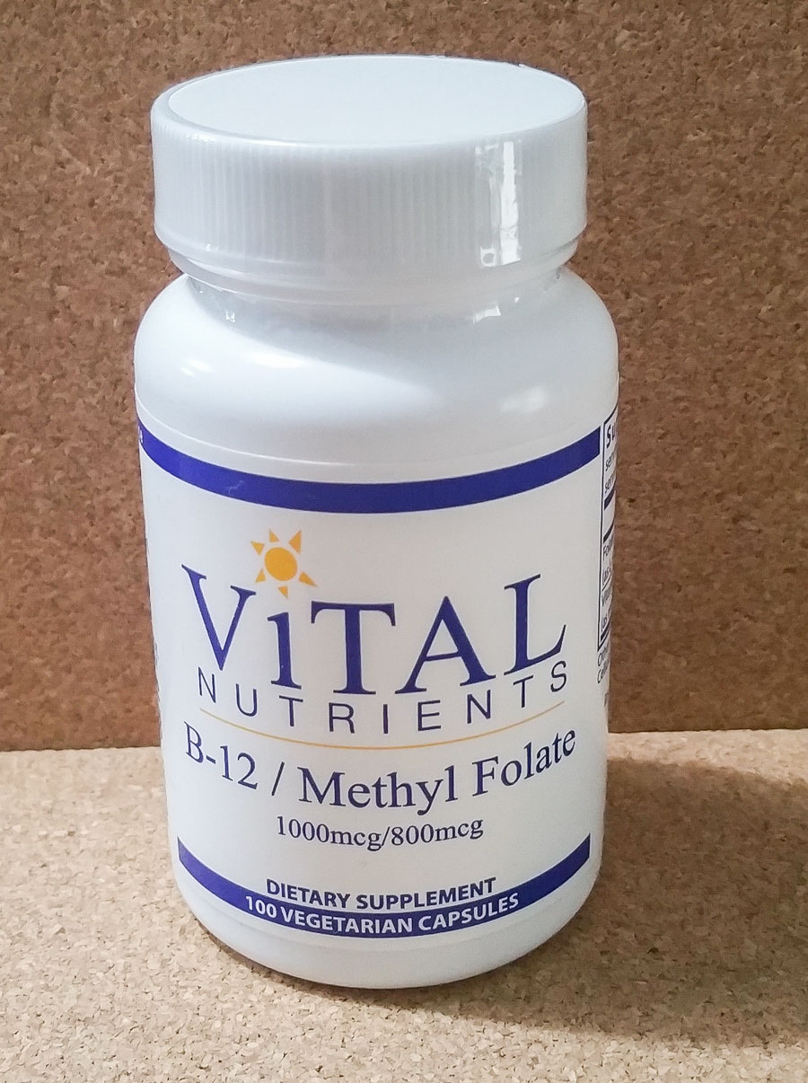 Image of a bottle of Vital Nutrients B-12 / Methyl Folate