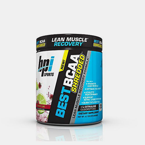 Image of a tub of BPI Sports Best BCAA Shredded, the best stimulant-free pre-workout supplement