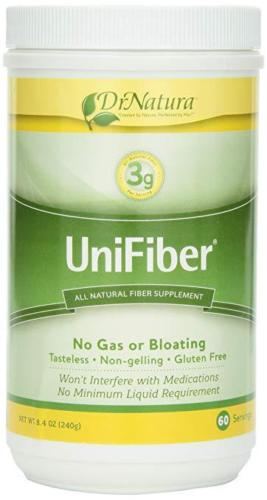 Image of a bottle of the best insoluble fiber supplement, Dr. Natura® Unifiber, Natural Fiber Supplement