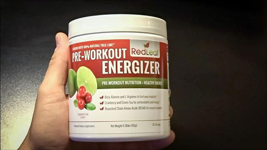 Image of a bottle of RedLeaf Pre-Workout Energizer, the best natural pre-workout supplement