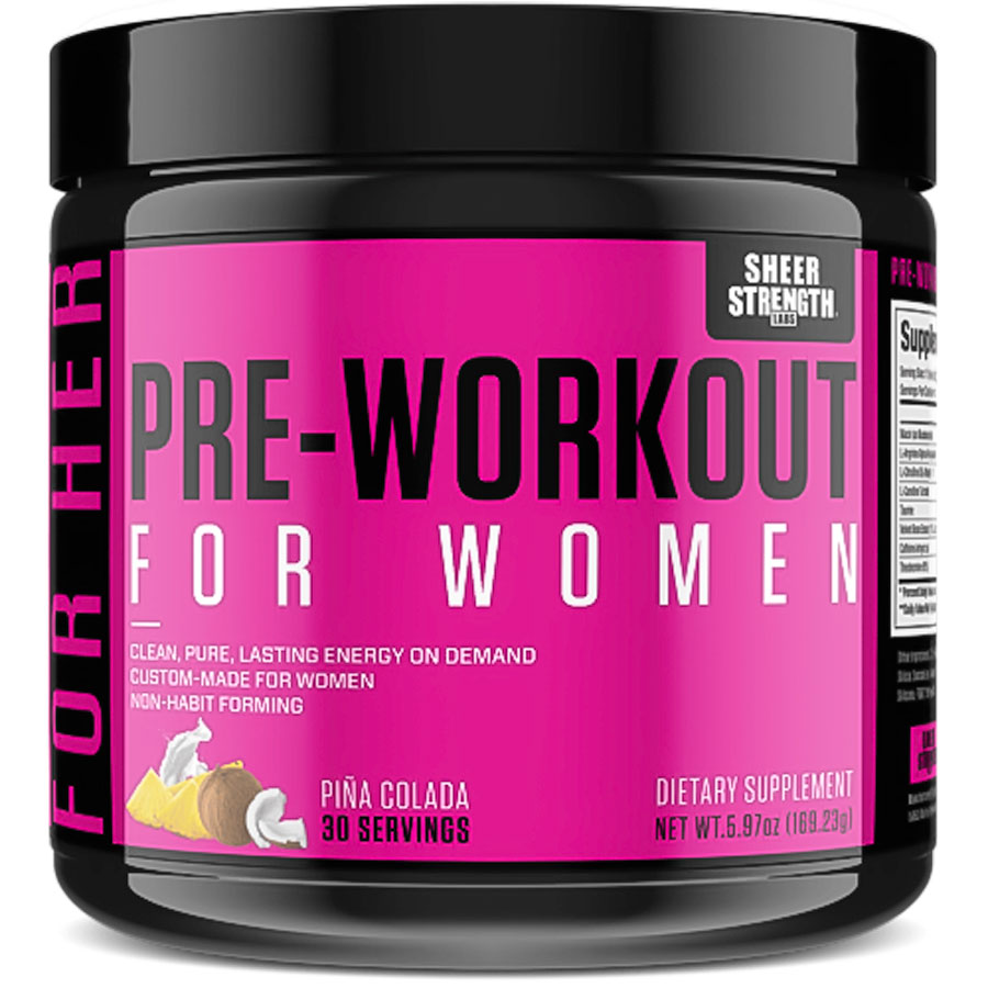 Image of a bottle of the best pre-workout supplement for women, Sheer Strength Labs Pre Workout for Women
