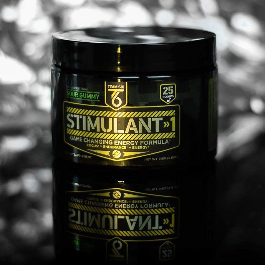 Image of a tub of Team Six Stimulant 1 Pre-Workout Supplement, the best pre-workout supplement for energy
