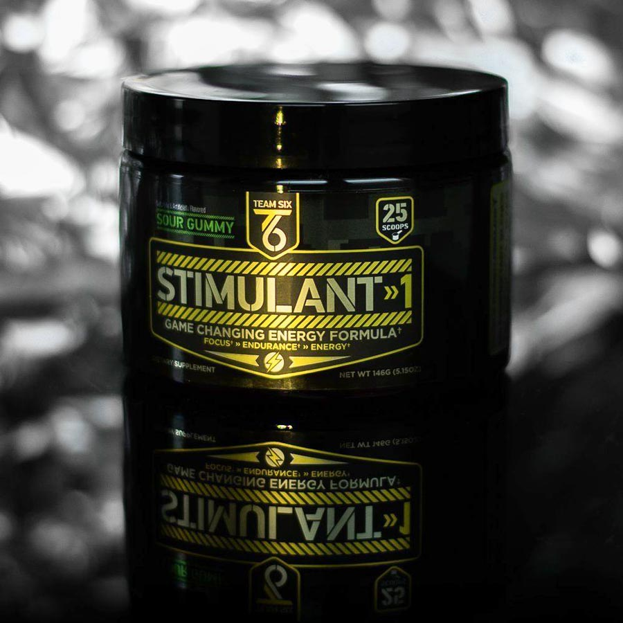 Image of a tub of Team Six Stimulant 1 Pre-Workout Supplement, the best pre-workout supplement for energy