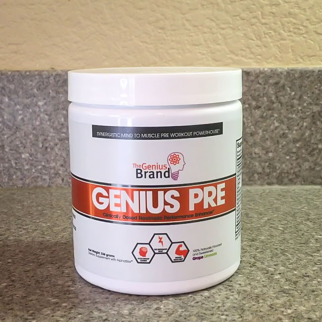 Image of the best pre-workout powder supplement, Genius Pre by The Genius Brand