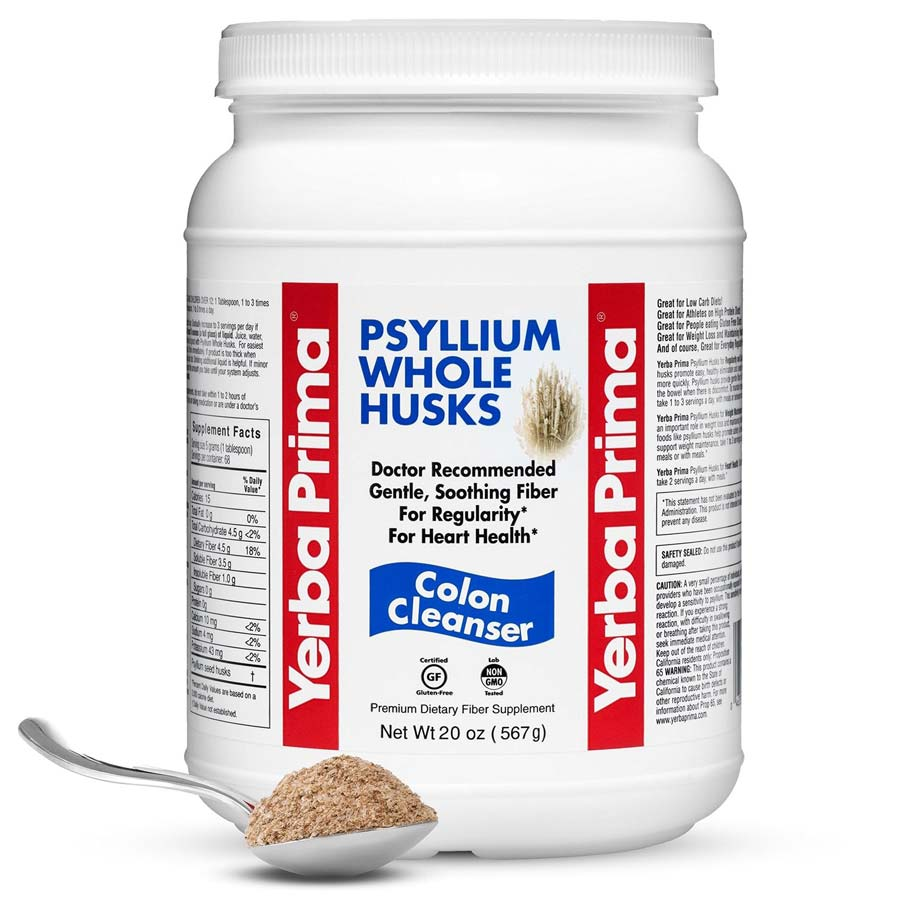 Image of a container of Yerba Prima Psyllium Whole Husks Colon Cleanser, the best fiber powder supplement