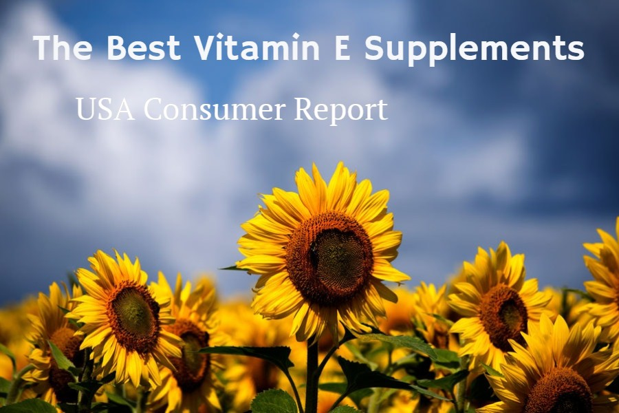 Cover image of sunflowers and blue sky for article on the best vitamin E supplements