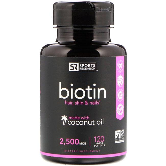 Image of a bottle of Sports Research 2500mcg Biotin Supplement