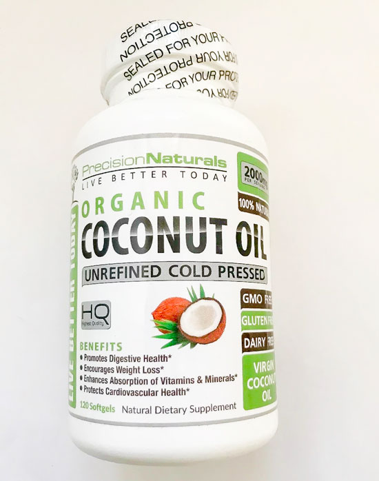Image of a bottle of PrecisionNaturals Organic Coconut Oil