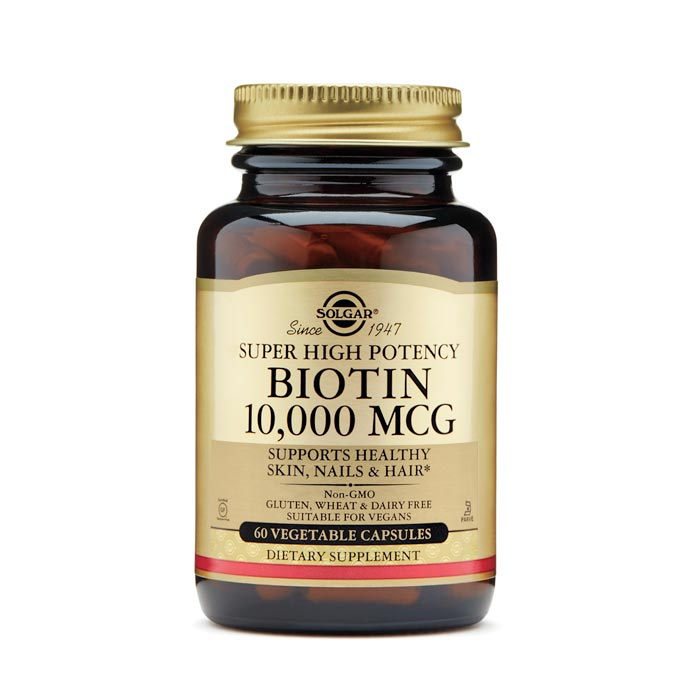 Image of a bottle of Solgar Super High Potency Biotin 10,000 mcg
