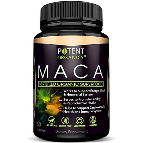 Image of a bottle of Potent Organics Maca